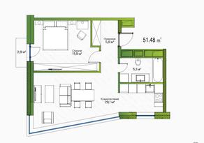 МФК «LES», планировка 1-комнатной квартиры, 51.48 м²