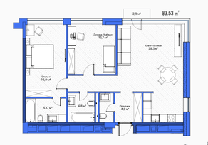 МФК «LES», планировка 2-комнатной квартиры, 83.53 м²