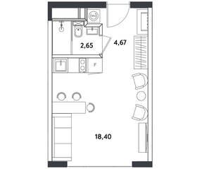 Апарт-отель «Измайловский парк», планировка студии, 25.72 м²