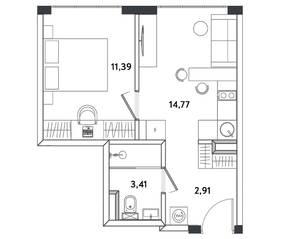 Апарт-отель «Измайловский парк», планировка 2-комнатной квартиры, 32.48 м²