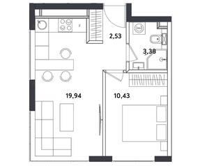 Апарт-отель «Измайловский парк», планировка 2-комнатной квартиры, 36.28 м²