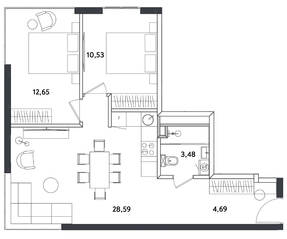Апарт-отель «Измайловский парк», планировка 3-комнатной квартиры, 59.94 м²