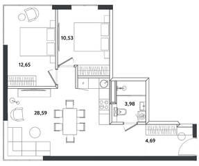 Апарт-отель «Измайловский парк», планировка 3-комнатной квартиры, 60.44 м²