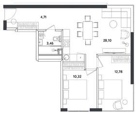 Апарт-отель «Измайловский парк», планировка 3-комнатной квартиры, 59.37 м²