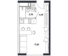 Апарт-отель «Измайловский парк», планировка студии, 24.61 м²