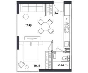 Апарт-отель «Измайловский парк», планировка 2-комнатной квартиры, 33.10 м²