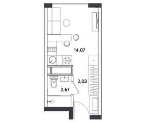 Апарт-отель «Измайловский парк», планировка студии, 18.77 м²