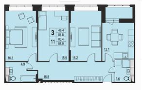ЖК «River Park», планировка 3-комнатной квартиры, 86.40 м²