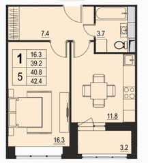 ЖК «River Park», планировка 1-комнатной квартиры, 40.80 м²