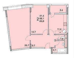 ЖК «River Park», планировка 2-комнатной квартиры, 69.80 м²