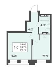 ЖК «Расцветай в Люблино», планировка 1-комнатной квартиры, 36.75 м²