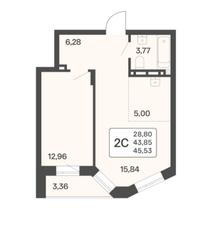 ЖК «Расцветай в Люблино», планировка 2-комнатной квартиры, 43.53 м²