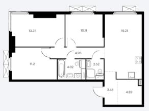 ЖК «Матвеевский парк», планировка 3-комнатной квартиры, 73.70 м²