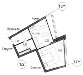 МФК Клубный дом «Рублево», планировка 1-комнатной квартиры, 36.40 м²