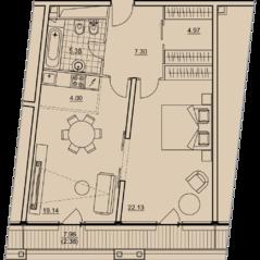 ЖК «Prizma», планировка 2-комнатной квартиры, 68.98 м²