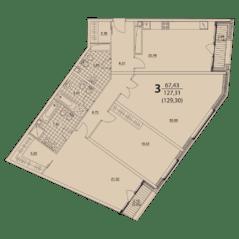 ЖК «Prizma», планировка 3-комнатной квартиры, 129.30 м²