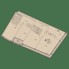ЖК «Prizma», планировка 4-комнатной квартиры, 156.52 м²