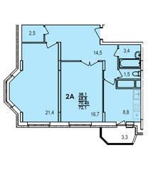 ЖК «Южный», планировка 2-комнатной квартиры, 72.10 м²