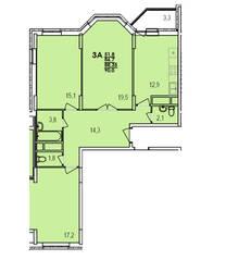 ЖК «Южный», планировка 3-комнатной квартиры, 90.00 м²