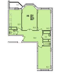 ЖК «Южный», планировка 3-комнатной квартиры, 88.00 м²