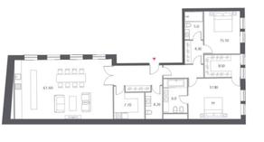 ЖК «Cloud Nine», планировка 3-комнатной квартиры, 148.90 м²