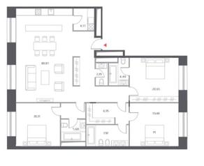 ЖК «Cloud Nine», планировка 4-комнатной квартиры, 157.80 м²