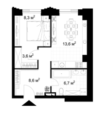 МФК «KAZAKOV Grand Loft», планировка 1-комнатной квартиры, 40.80 м²