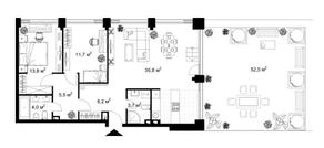 МФК «KAZAKOV Grand Loft», планировка 2-комнатной квартиры, 82.70 м²