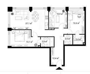 МФК «KAZAKOV Grand Loft», планировка 3-комнатной квартиры, 64.80 м²