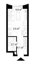 МФК «KAZAKOV Grand Loft», планировка студии, 19.10 м²