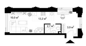 МФК «KAZAKOV Grand Loft», планировка студии, 29.60 м²