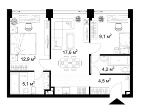 МФК «KAZAKOV Grand Loft», планировка 2-комнатной квартиры, 53.50 м²