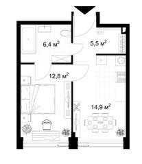 МФК «KAZAKOV Grand Loft», планировка 1-комнатной квартиры, 39.30 м²
