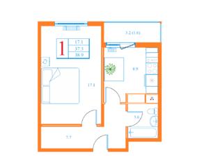 ЖК «Дмитров Сити», планировка 1-комнатной квартиры, 38.90 м²