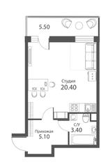 ЖК «Аквилон Park», планировка студии, 30.60 м²
