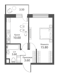 ЖК «Аквилон Park», планировка 1-комнатной квартиры, 34.10 м²