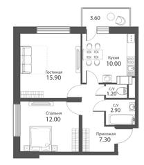 ЖК «Аквилон Park», планировка 2-комнатной квартиры, 50.40 м²