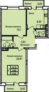 ЖК «Захарово-парк», планировка 2-комнатной квартиры, 61.66 м²