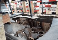 На стадионе «Октябрь» рядом со стройкой ЖК «Дом Серебряный бор» разрушилось здание